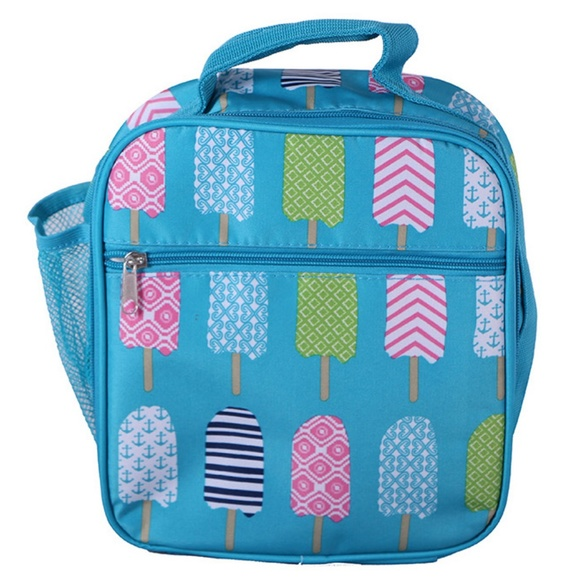 DBFL Mesh Side Pocket Popsicle Printed Lunch Bag